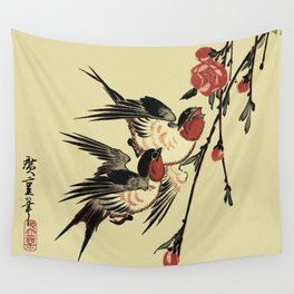 Moon Swallows and Peach Blossoms Wall Tapestry