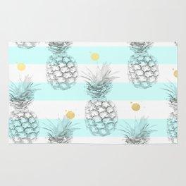 Pineapple express - aqua stripe gold splat Rug