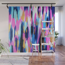 Spring Golden - Pink and Navy Abstract Wall Mural