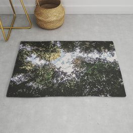 Wilderness Daylight | Photograph of the Blue Sky Dense Green Woodland Forest Tree Leaves Rug