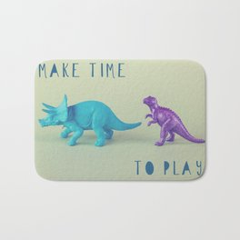 Make Time to Play - Blue and Purple Dino on Green Bath Mat