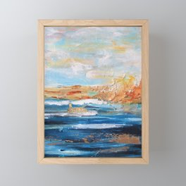 Sailboats and Golden Rays filling the Sea Gold Framed Mini Art Print