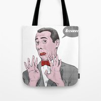 pee wee Tote Bags featuring Pee Wee Herman #1 by Christian G. Marra