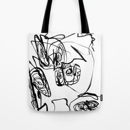 Dancing Flower | Flower Abstract Art |Black and White Art Print Tote Bag