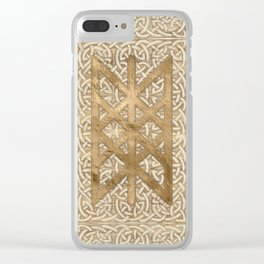Web of Wyrd The Matrix of Fate - Vintage Gold Clear iPhone Case