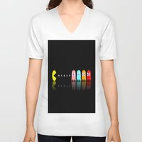 pac man V-neck T-shirts featuring Pac Man by Emma Kennedy