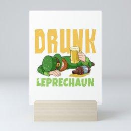 Drunk Leprechaun Funny St Patricks Day Irish Clover print Mini Art Print