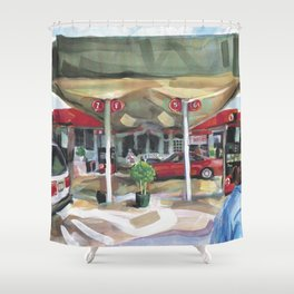 Passing a Palm Beach gas station on a warm winter's afternoon Shower Curtain