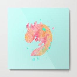 Axolotl Watercolor Painting Metal Print