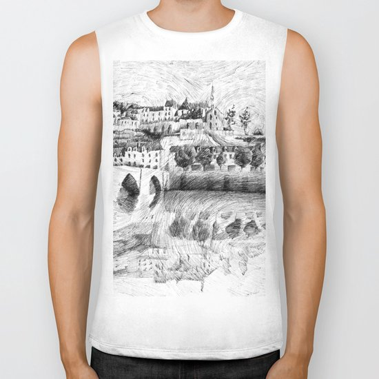 Terrasson village - Black ink Biker Tank