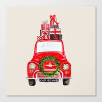 craftberrybush Canvas Prints featuring Red Christmas Car  by craftberrybush