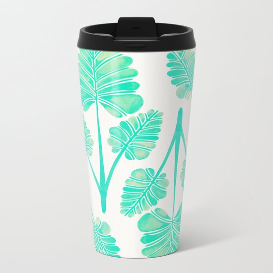 Tropical Palm Leaf Trifecta – Turquoise Palette Metal Travel Mug