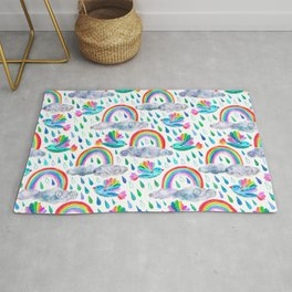 Spring Showers and Rainbow Birds on White Rug