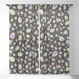 Colored diamonds (black) Sheer Curtain