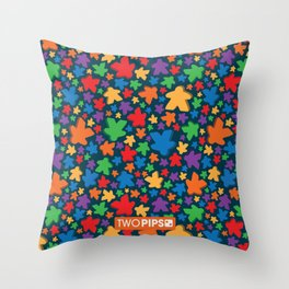 Funky Meeple Pattern Throw Pillow