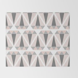 Geometric Diamond in Pink and Gray Throw Blanket