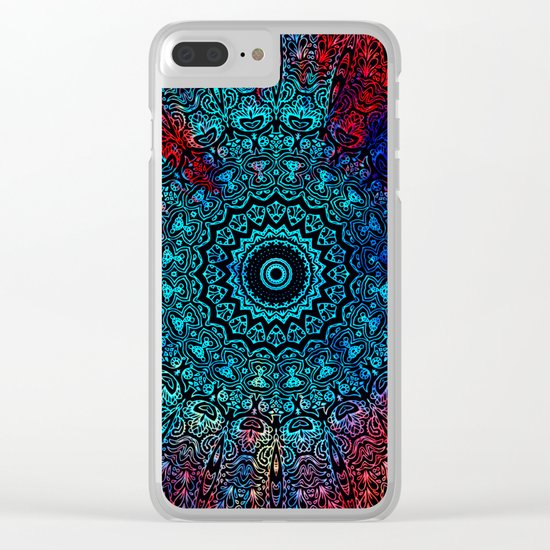 Bohemian Passion Blue & Red Mandala Design Clear iPhone Case