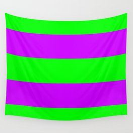 Neon Green & Purple Wide Horizontal Stripes #1 Wall Tapestry