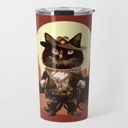 Cowboy Cat Illustration Travel Mug
