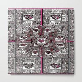 Sinking Heart Love Pattern 2 Metal Print