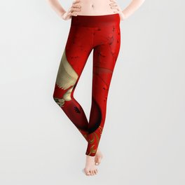 Cute little fairy with pegasus on a heart Leggings