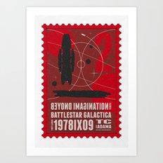 Beyond imagination: Battlestar Galactica postage stamp  Art Print