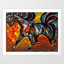 Horse Stained Glass Mosaic Brown Art Print