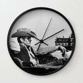 Mr. Dean in Cowboy Hat Classic Hollywood Iconic black and white photograph Wall Clock
