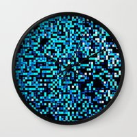 pixel art Wall Clocks featuring Turquoise Blue Aqua Black Pixels by 2sweet4words Designs