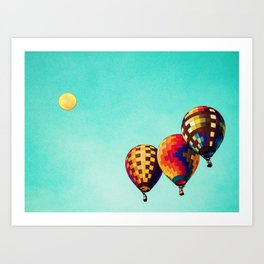 Air Balloons in watercolor Art Print