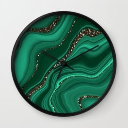 Liquid Malachite Glitter Dream #1 (Faux Glitter) #gem #decor #art #society6 Wall Clock