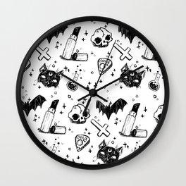 Bats, Cats and Skuls, Oh My! (B/W) Wall Clock