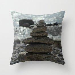 Zen Balancing Pebbles Seashore Throw Pillow
