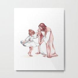 Christ dancing with little Girl Metal Print