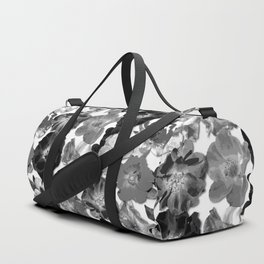 Geometric Fragmented Wild Rose Black - White Duffle Bag