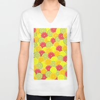 fruits V-neck T-shirts featuring Summer fruits by bica Studio