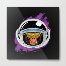 Vintage Space Monkey Metal Print