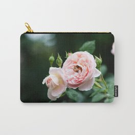 Pink Rose with Bee Carry-All Pouch