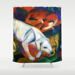 "Franz Marc ""Three animals (dog, fox and cat)"" Shower Curtain"