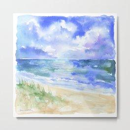 Ocean and Sand Dunes Metal Print