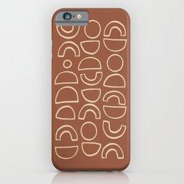 Geometric Shapes Pattern in Terracotta iPhone Case