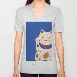 Blue Lucky Cat Maneki Neko Unisex V-Neck