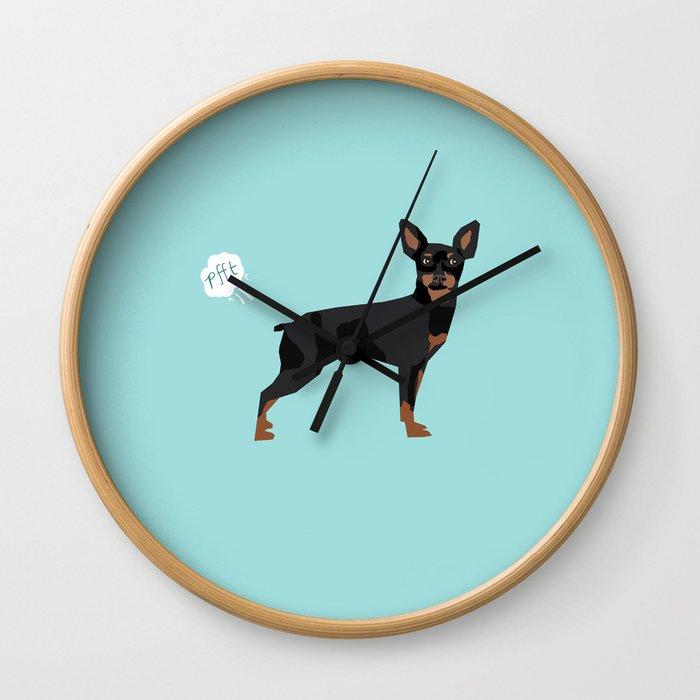 min pin miniature doberman pinscher farting dog cute funny dog gifts pure breed dogs Wall Clock