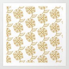 Golden floral on white 2/5 Art Print