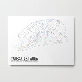 Turoa Ski Area, New Zealand - Minimalist Trail Art Metal Print
