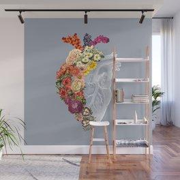 Flower Heart Spring Light Grey Wall Mural