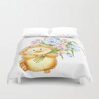hedgehog Duvet Covers featuring  Hedgehog by Daria Kotyk