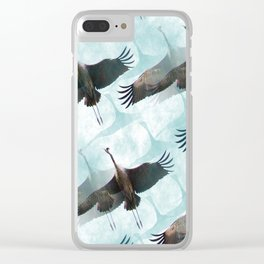 Abstract Whooping Cranes Clear iPhone Case
