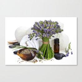lavender spa (fresh lavender flowers, towel, essential oil, pebbles, Herbal massage balls) over whit Canvas Print
