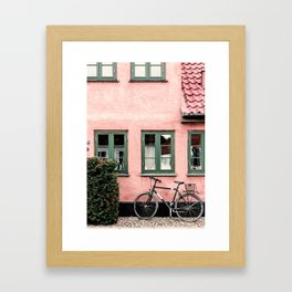 Pink house Print ,Photography Print, Bicycle Poster, Wall Art, Vintage Bicycle, Bike Wall Art Framed Art Print